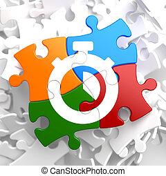 stopur, ikon, på, multicolor, puzzle.