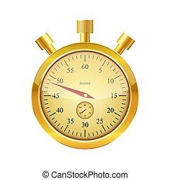stopwatch., μικροβιοφορέας , illustration., χρυσός , λείος