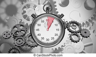 Stopwatch and gears - Digitally generated animation of ...