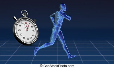 Digitally generated animation of human model while running and a stopwatch and background of blue and square patterns