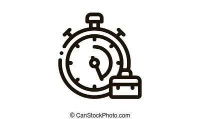Stopwatch And Suitcase Agile Element animated black icon on white background
