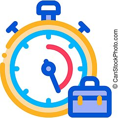 Stopwatch And Suitcase Agile Element Vector Icon Thin Line....