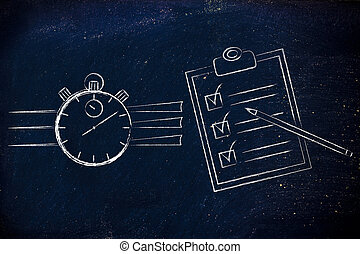stopwatch and to do list complete - time management:...