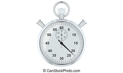 Stopwatch Animation, 3D rendering isolated on white...