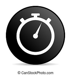 stopwatch black color web design round internet icon on white background.