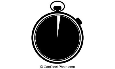 Stopwatch on a white background with the face of the watch transitioning by turning with the time from a black to white.