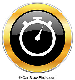 stopwatch black web icon with golden border isolated on white background. Round glossy button.