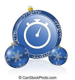 stopwatch blue christmas balls icon
