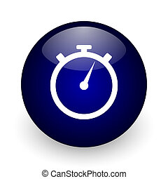 stopwatch blue glossy ball web icon on white background. Round 3d render button.
