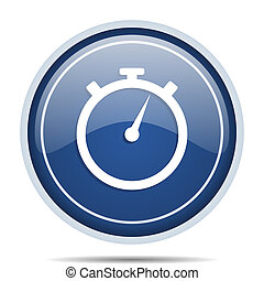 stopwatch blue round web icon. Circle isolated internet button for webdesign and smartphone applications.