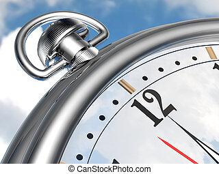 Stopwatch -  close-up of stop-watch on a sky background