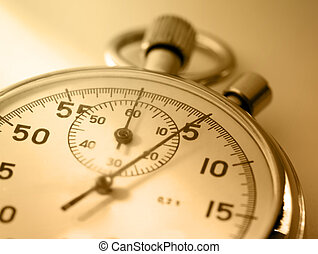 Stopwatch closeup in sepia toning