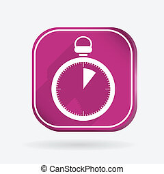 stopwatch. Color square icon