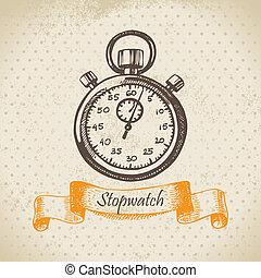 stopwatch., dessiné, main, illustration