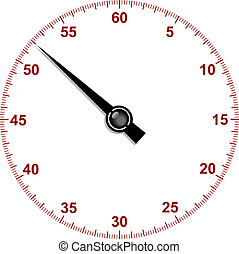 Stopwatch dial with stopwatch hand on white background