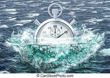 Stopwatch drowning in the sea, 3D rendering