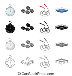 Stopwatch, dumbbells and a skipping rope for training, boxing ring. Boxing set collection icons in cartoon black monochrome outline style vector symbol stock illustration web.
