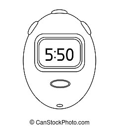 Stopwatch for calculating time and speed of travel. Cyclist outfit single icon in outline style bitmap, raster symbol stock illustration.