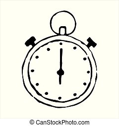 Stopwatch hand drawn outline doodle icon