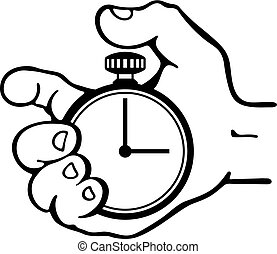 Hand pressing the button of a stopwatch