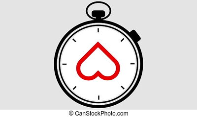 Stopwatch Heart Symbol Pulsing - Stopwatch with the outline...