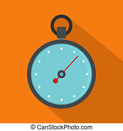 Stopwatch icon, flat style