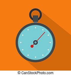 Stopwatch icon, flat style