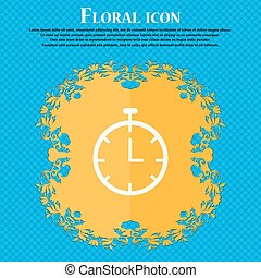 Stopwatch  icon. Floral flat design on a blue abstract background with place for your text. Vector