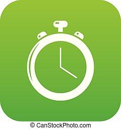 Stopwatch icon green vector