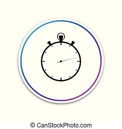 White stopwatch icon isolated on transparent background