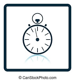 Stopwatch icon. Shadow reflection design. Vector...