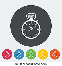 Stopwatch. Single flat icon on the circle. Vector illustration.
