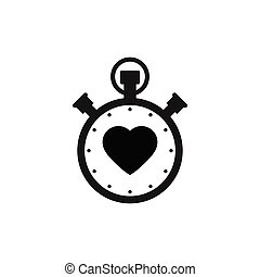 Stopwatch icon with heart icon - vector sign