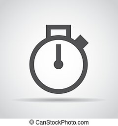 Stopwatch icon with shadow on a gray background. Vector illustration