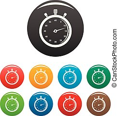 Stopwatch icons set color