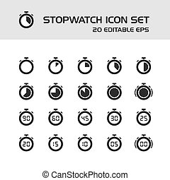 Stopwatch icons set on a white background