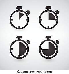stopwatch icons set, timer icon