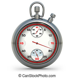 Stopwatch in 3D illustration. High resolution image on white...