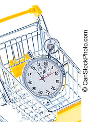 Stopwatch in a shopping cart - A stopwatch is in a shopping ...