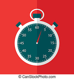 Stopwatch in flat design on red backfround