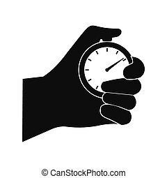 Stopwatch in hand black simple icon