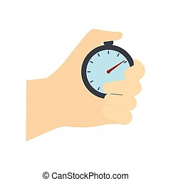 Stopwatch in hand flat icon