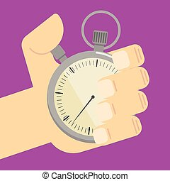 Stopwatch in hand icon isolated, vector