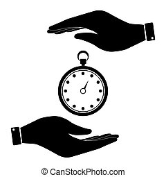 Stopwatch in hand icon