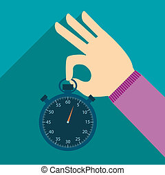 illustration of stopwatch in hand in flat