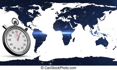 Stopwatch in world map