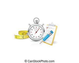 stopwatch, klembord, rolmeter