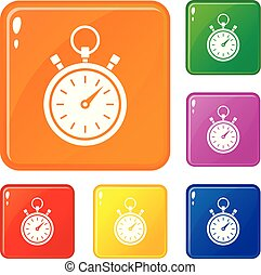 stopwatch, kleur, set, vector, iconen