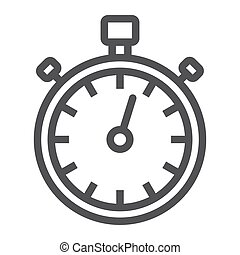 Stopwatch line icon, fitness and sport, timer sign vector graphics, a linear pattern on a white background, eps 10.