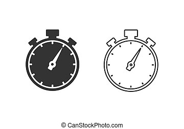 Stopwatch line icon set in trendy flat style. Vector